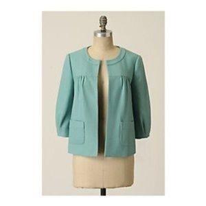 Tabitha Anthropologie Teal Blue Green Swing Jacket